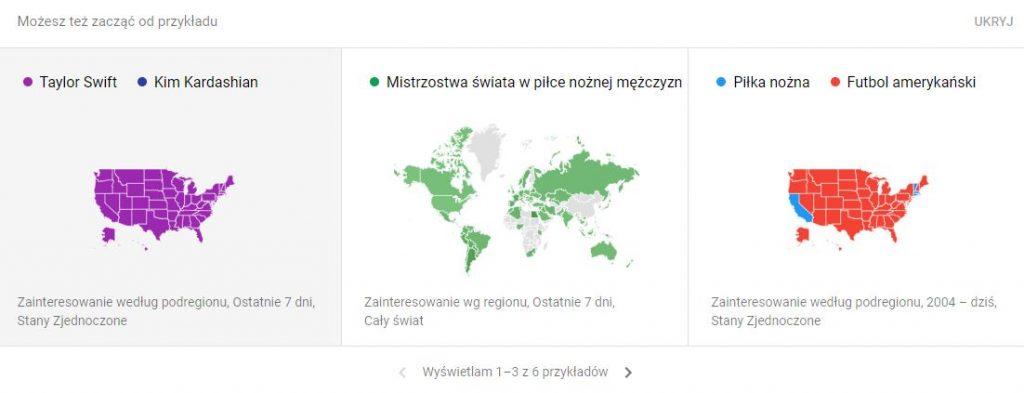 Popularne tematy w Google
