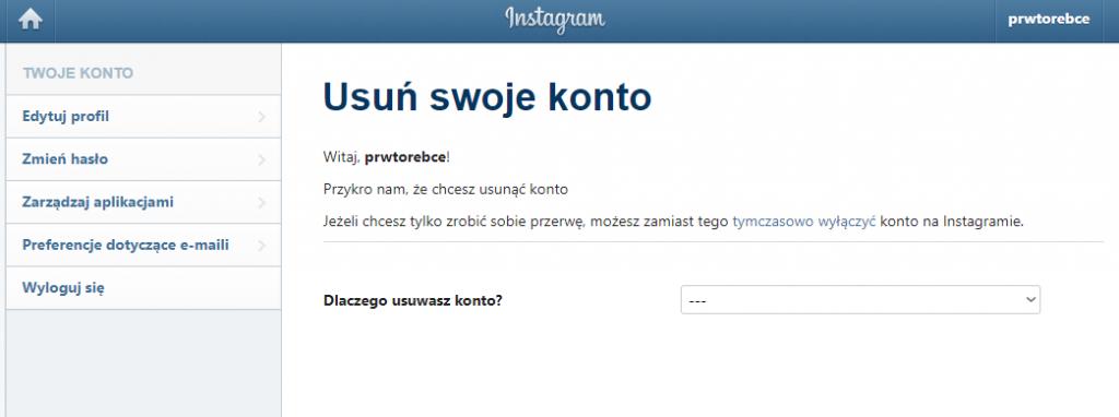 jak usunąć instagrama